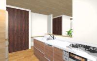 対面キッチンと家事スペース